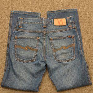 Nudie 28x28 Low Slim Jim Coated Denim Jeans